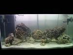 90 gal a few days after putting in 60# of LR. There is also 60# of base rock.